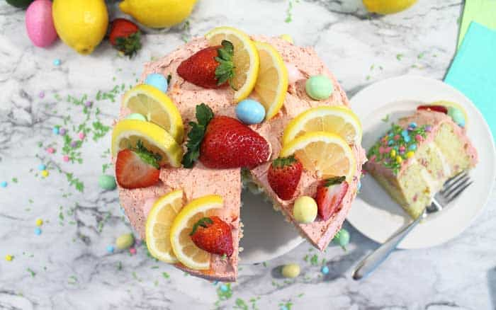 Strawberry Lemon Cake overhead with slice beside it