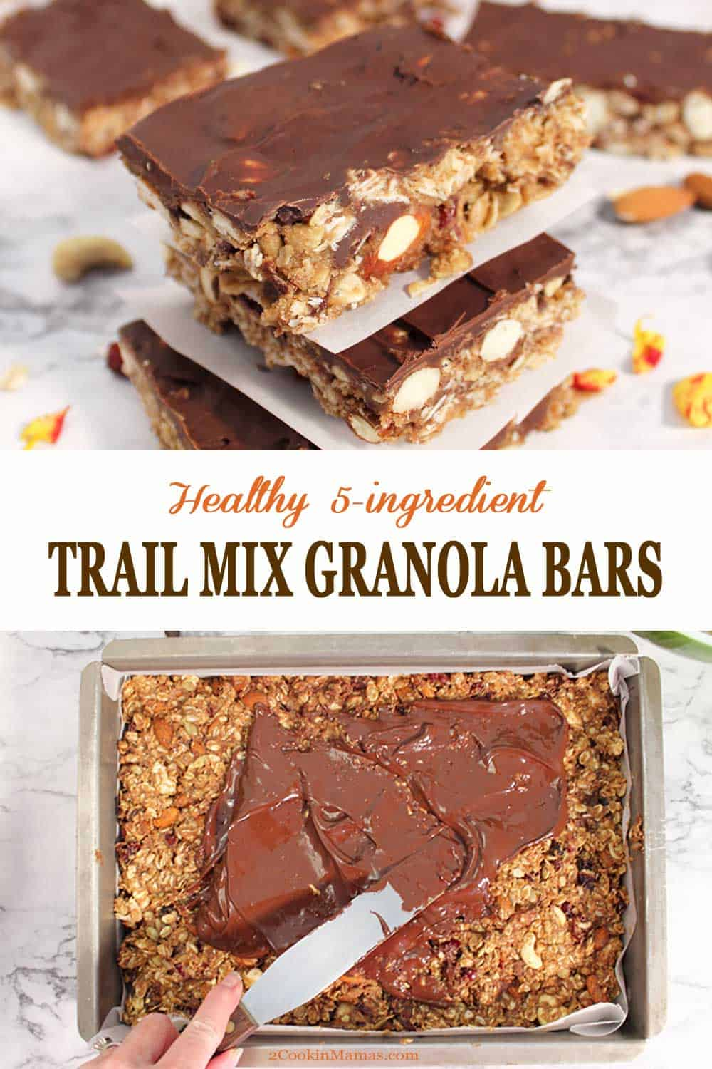 Healthy Trail Mix Granola Bars | 2 Cookin Mamas Trail Mix Granola Bars are a delicious, homemade & healthy snack. Sweetened with honey, flavored with almond butter and maple syrup and packed with a trail mix full of nuts, seeds & dried fruit. Finish with a topping of chocolate for an irresistible snack. #snack #granolabars #healthy #easy #recipe #glutenfree #lowcarb #almondbutter #nobake #homemade #chocolate #oats #glutenfree