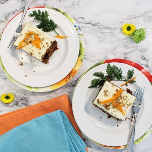 2 slices carrot cake overhead square