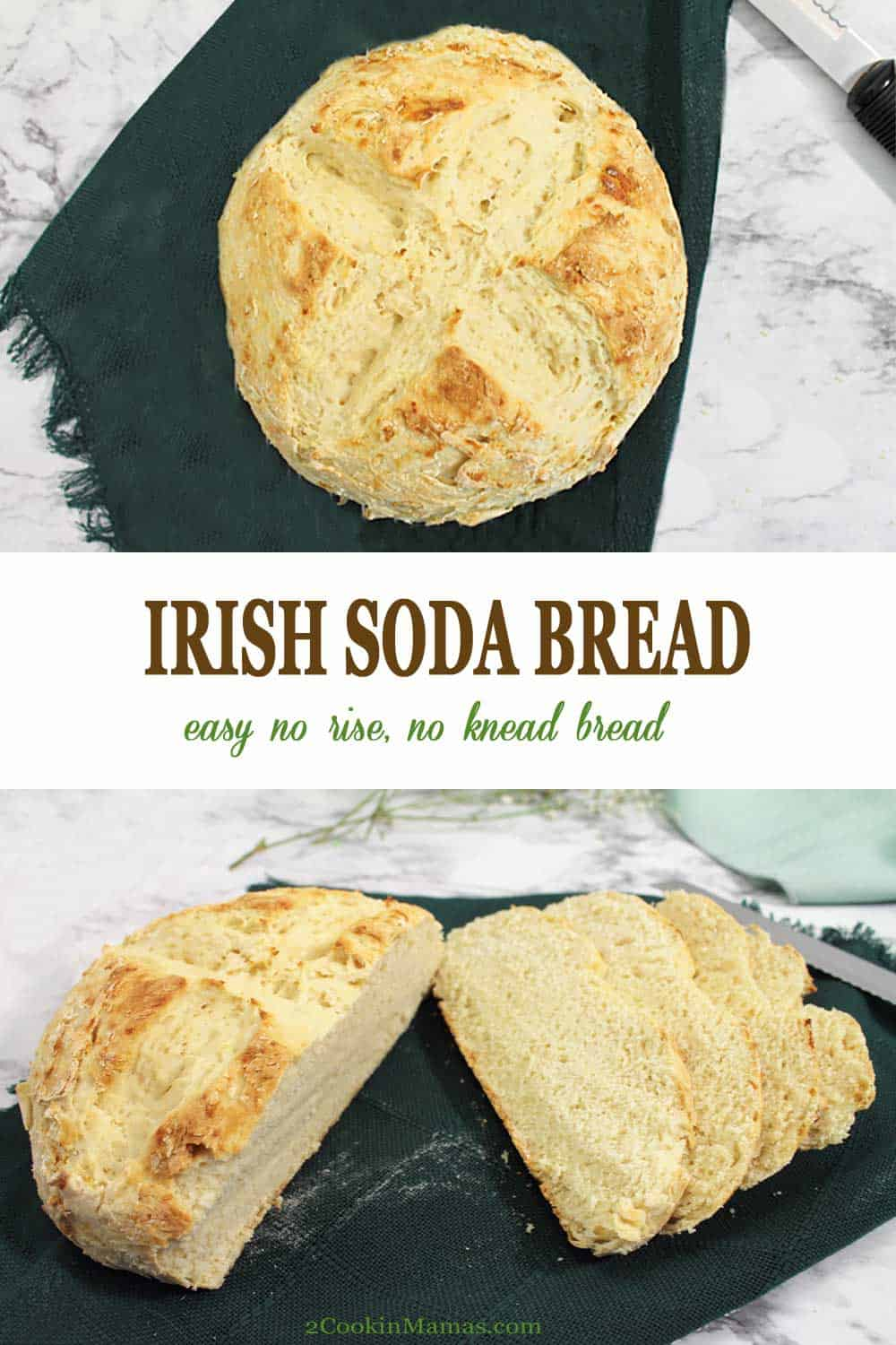 5 Ingredient Irish Soda Bread | 2 Cookin Mamas An easy no yeast, no knead Irish Soda Bread with only 5 ingredients. Think you can't make bread, think again! This simple recipe will have you enjoying a soft, dense bread complete with crispy crust with only 10 minutes of prep and a 40 minute bake. A great addition to any St. Patrick's Day dinner. #bread #quickbread #easy #traditional #stpatricksday #noyeast #recipe