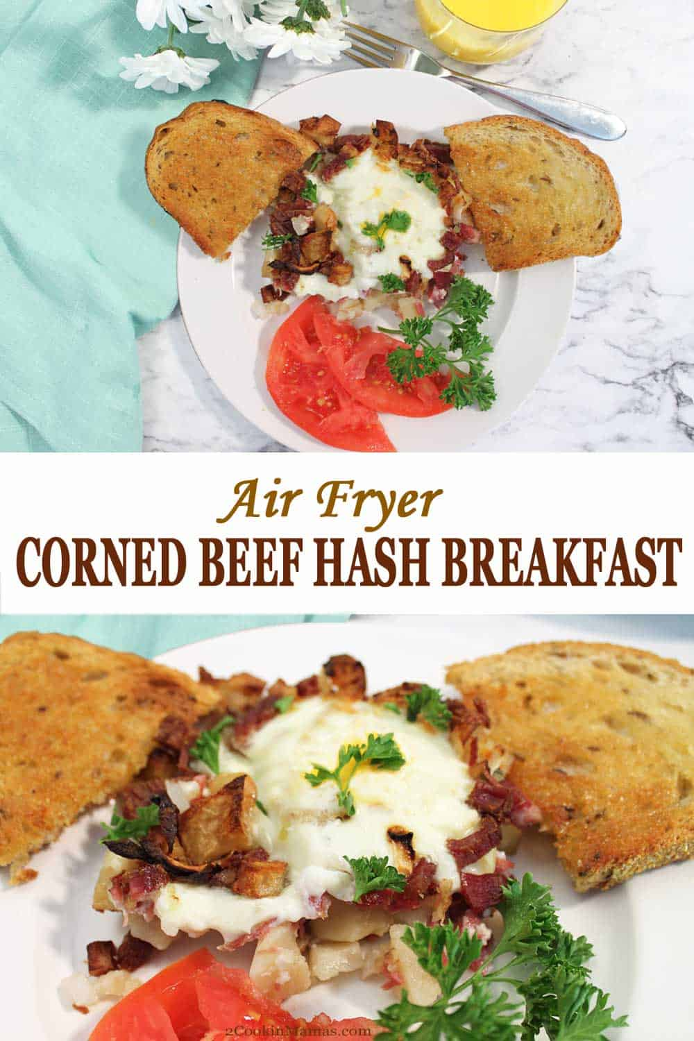 Air Fryer Corned Beef Hash Breakfast | 2 Cookin Mamas Leftover corned beef is never a problem when this easy Air Fryer Corned Beef Hash Breakfast is in your repertoire. Add some potatoes and chopped onion air fry for 10 minutes. Add eggs for 3 minutes and breakfast is served. Easy to make and super simple to clean up. You'll swear corned beef tastes better the second time around. #cornedbeef #leftovers #stpatricksday #breakfast #eggs #easy #potatoes #airfryer