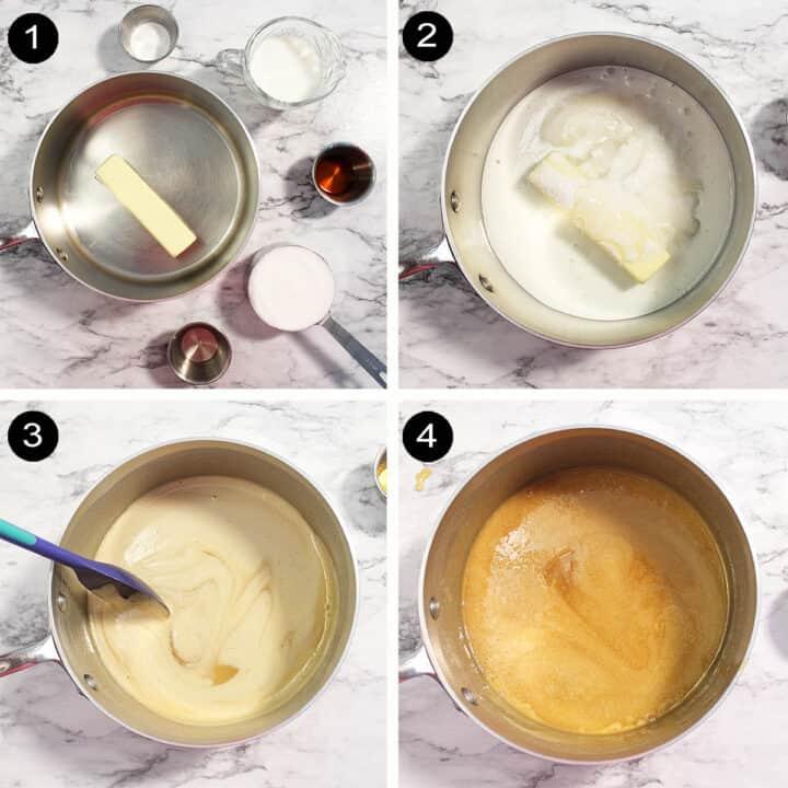 Making buttermilk glaze steps 1-4.