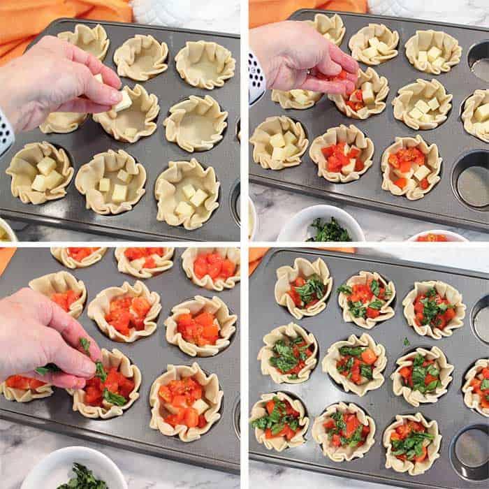 Caprese Empanada prep steps 1-4
