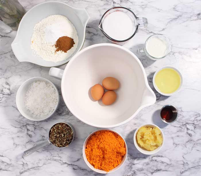 Carrot Cake ingredients in bowls overhead