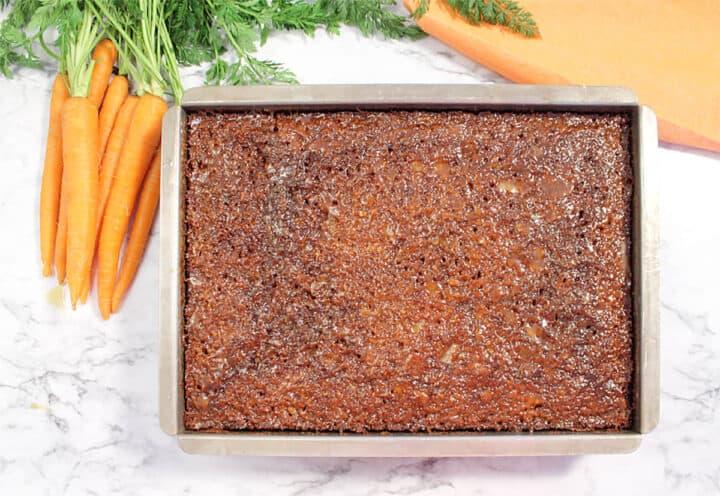 Carrot Cake soaking in Buttermilk Glaze.