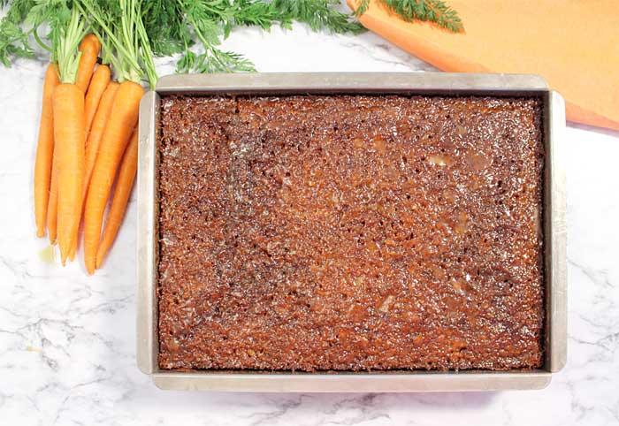 Carrot Cake soaking in buttermilk glaze