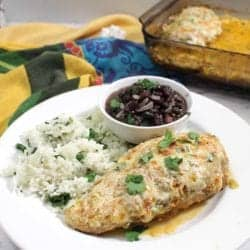 Chicken Fiesta plated with cilantro rice and black beans square