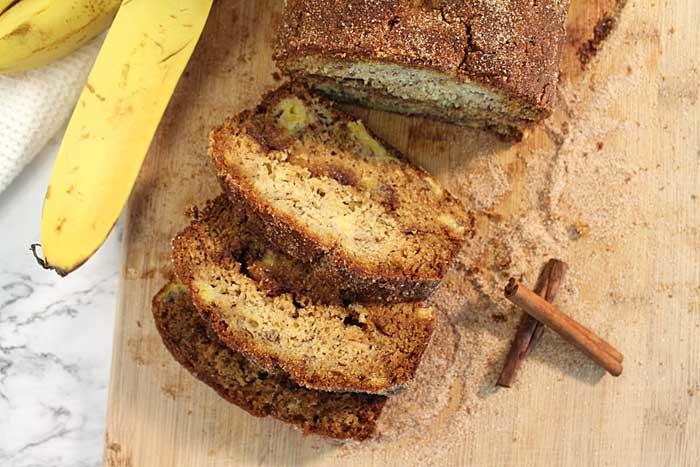 Churro Banana Bread cinnamon swirl overhead