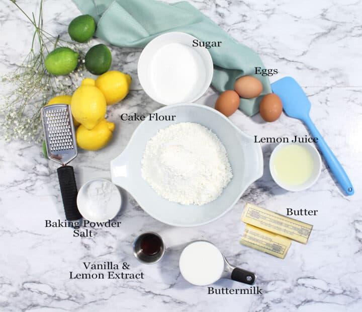 Ingredients for lemon cake.