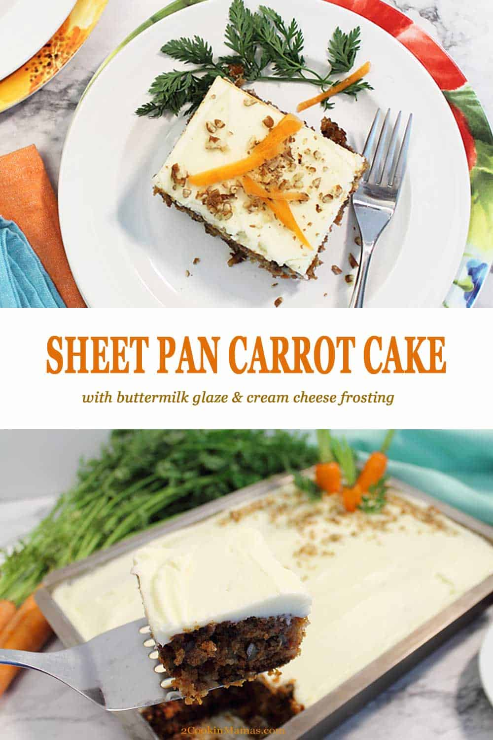 Sheet Pan Carrot Cake | 2 Cookin Mamas Spring is the perfect time to bake up this easy, moist Sheet Pan Carrot Cake. It's perfectly spiced and packed full of carrots, nuts and pineapple. There's a rich buttermilk glaze that adds another layer of flavor then the entire cake is covered with a creamy cream cheese frosting. It's the perfect dessert for Easter, Mother's Day or any time. #carrotcake #cake #easy #sheetpancake #carrots #nuts #pineapple #dessert #Easter #MothersDay #recipe #creamcheesefrosting #buttermilk #fromscratch