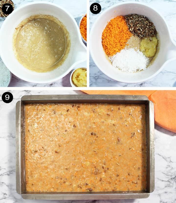 Prep steps for carrot cake 7-9.