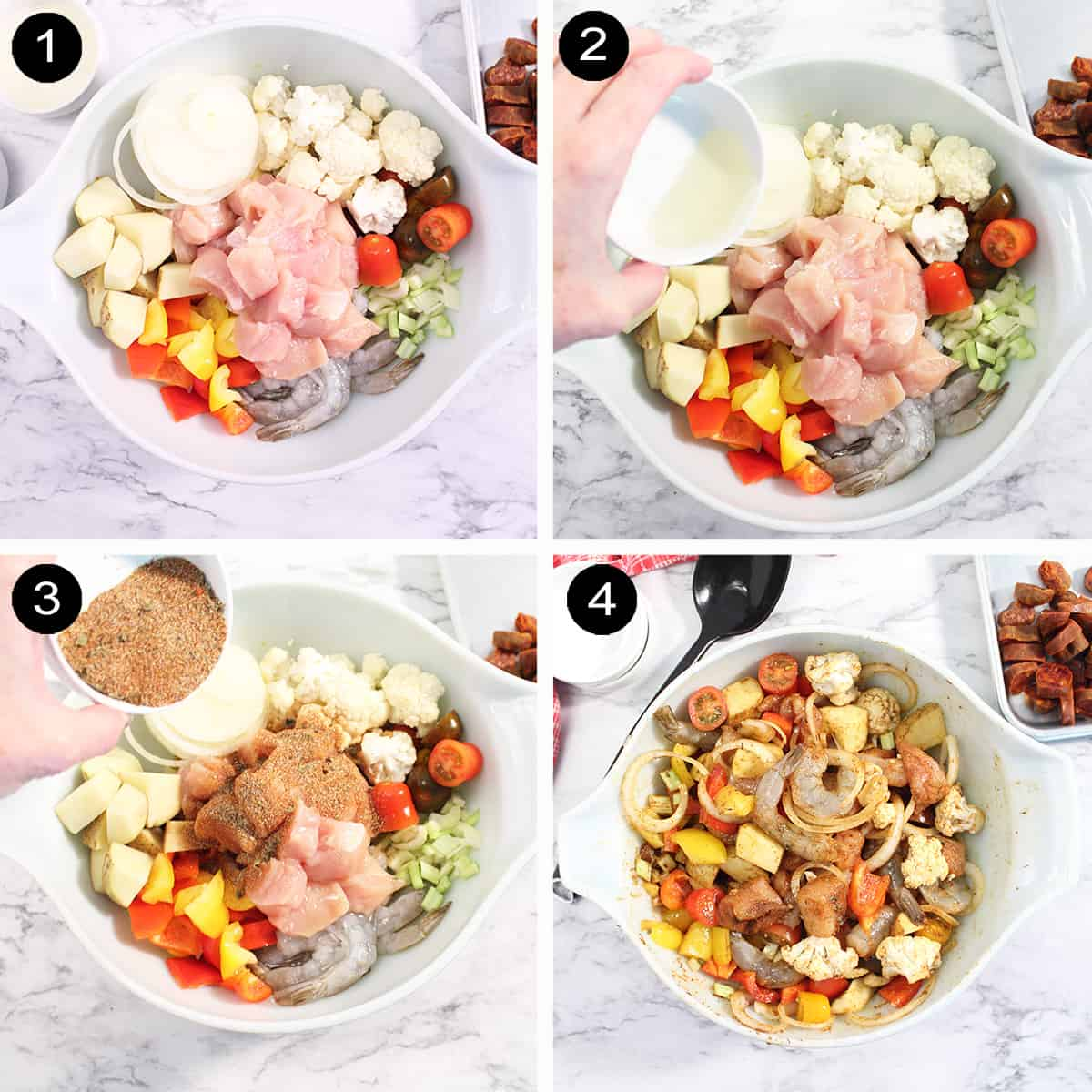 Steps to make mixed grill.
