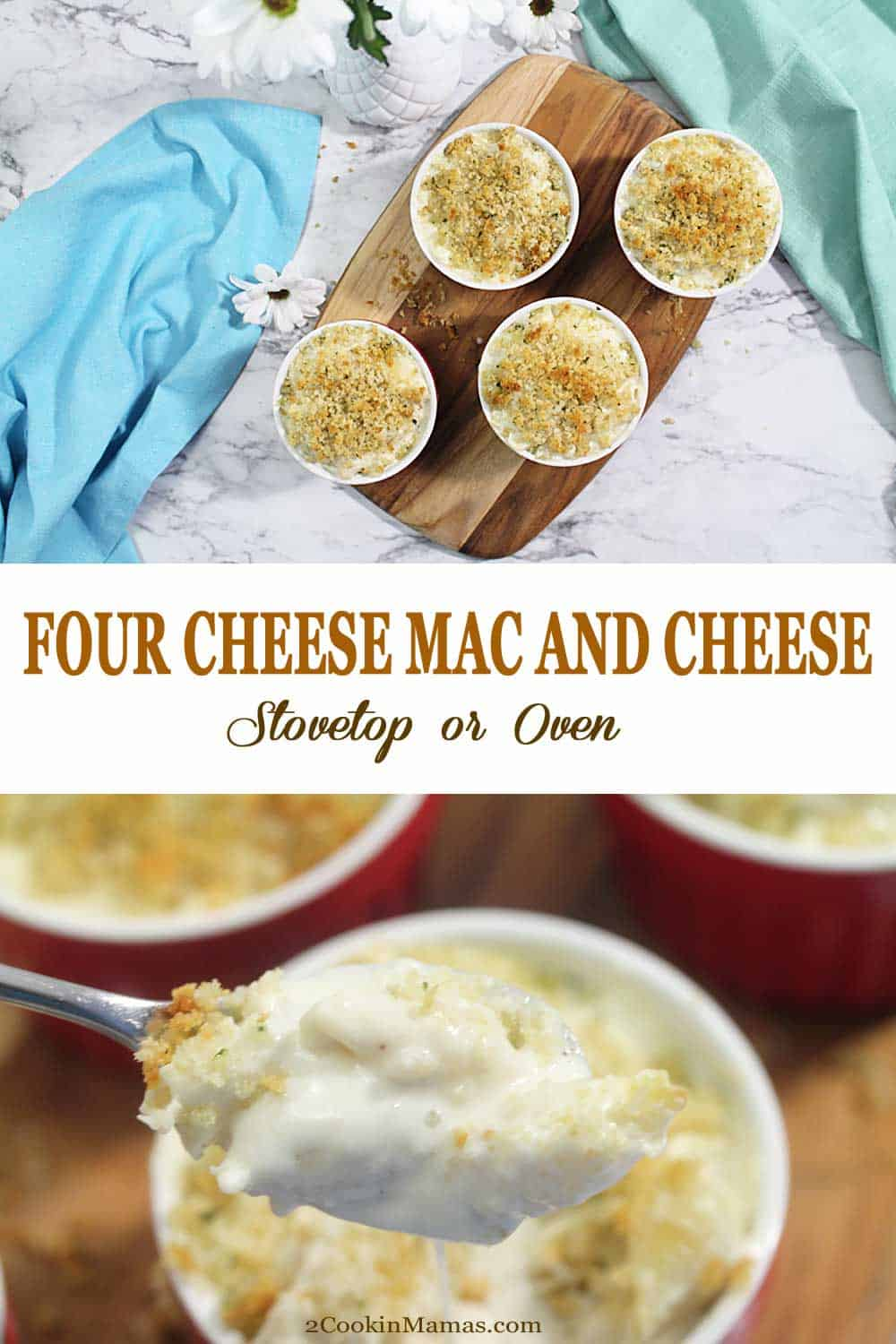 Stovetop Four Cheese Mac and Cheese | 2 Cookin Mamas Jazz up your stovetop mac and cheese with this four cheese gourmet version that's both creamy and rich. It's quick, easy and delicious and works great as a main dish or a side. Love a crunchy buttery top? Pour it into ramekins and finish it off in the oven. I guarantee this will become a family favorite. #macandcheese #stovetop #fourcheese #recipe #baked #easy #homemade #creamy