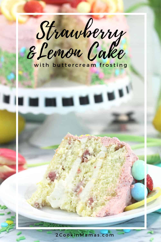 Strawberry Lemon Cake with Buttercream Frosting