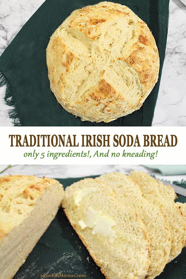 An easy no yeast, no knead Irish Soda Bread with only 5 ingredients. Think you can\'t make bread, think again! This simple recipe will have you enjoying a soft, dense bread complete with crispy crust with only 10 minutes of prep and a 40 minute bake. A great addition to any St. Patrick\'s Day dinner. #irishsodabread #easyirishsodabread #traditionalirishsodabread #irishsodabreadstpatricksday #irishsodabreadrecipe