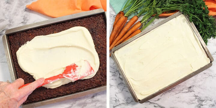 Spreading cream cheese frosting on carrot cake.
