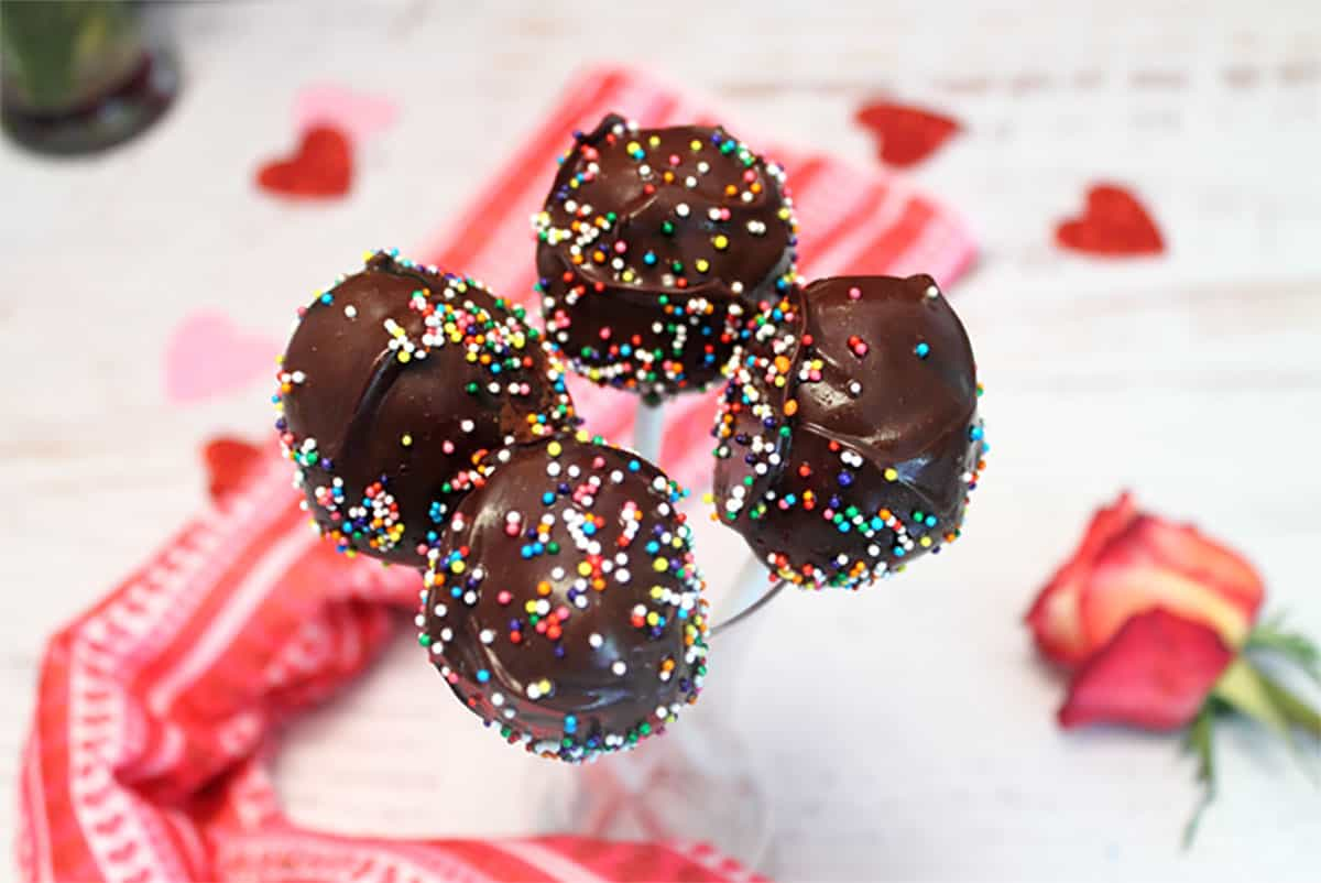 Chocolate covered cake pops on popsicle sticks.
