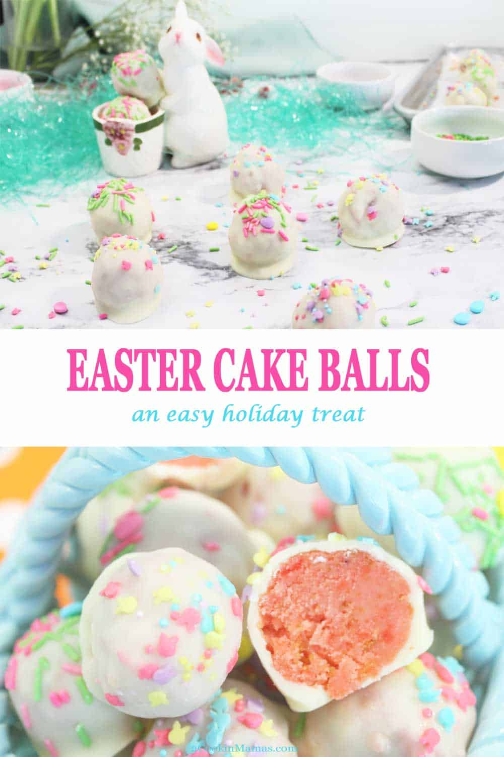 Easter Cake Balls | 2 Cookin Mamas These Easter Cake Balls, aka Cake Truffles, are an easy, fun to make bite-sized dessert. They start with a boxed mix of your favorite cake, combined with cream cheese frosting, then dipped into a coating of rich white chocolate. Decorated with seasonal sprinkles, they make a delectable and delicious Easter treat. #cakeballs #cakepops #dessert #easy #recipe #easter #whitechocolate #treat #truffles