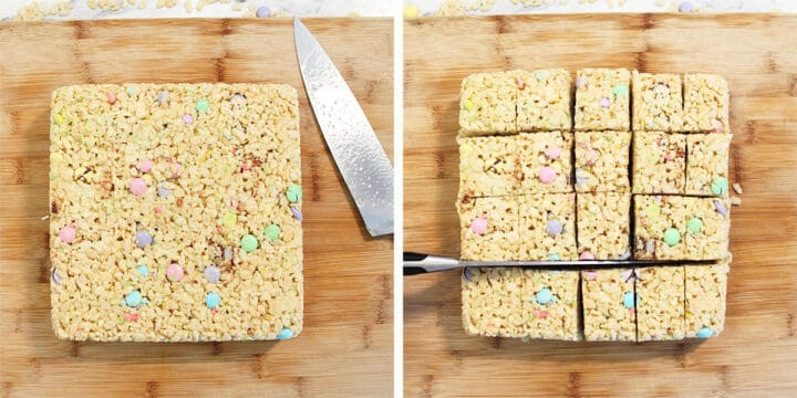 Cooled square of treats and cut square of treats.