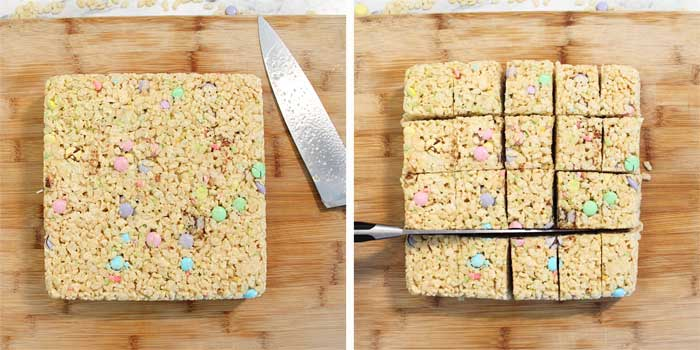 Easter Rice Krispies Treats chilled and cut