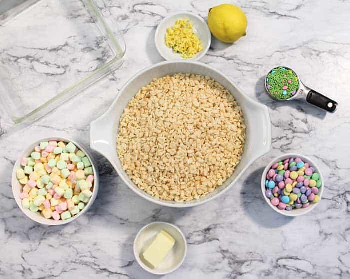 Easter Rice Krispies Treats ingredients overhead