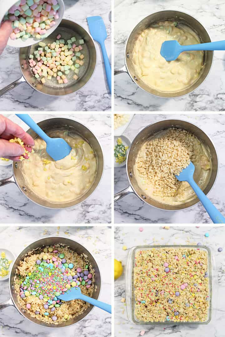 Prep steps for homemade rice krispie treats 1-6.