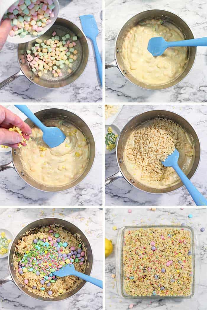Lemonade Rice Kirspies Treats Steps 1-6