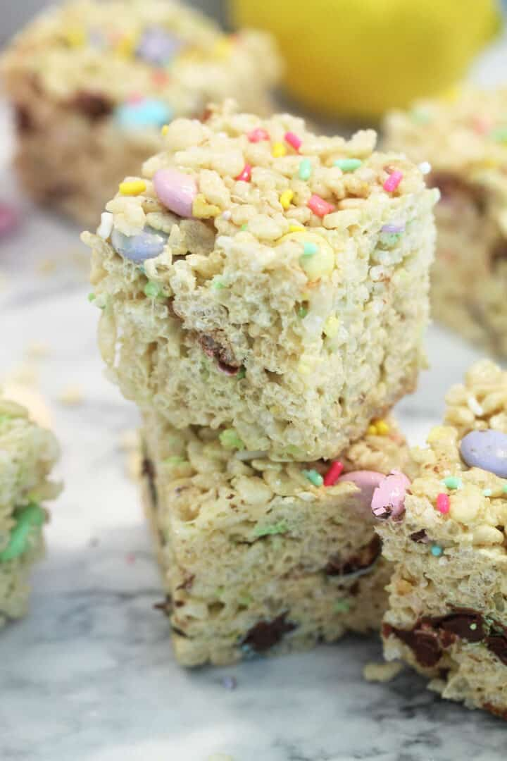 Closeup of rice krispie treats showing candy and sprinkles.