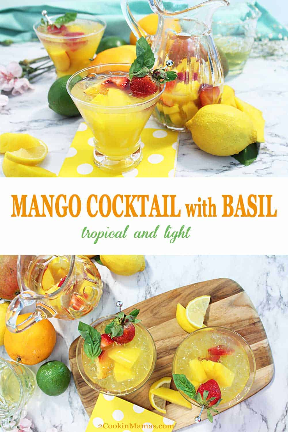 Mango cocktail with Basil | 2 Cookin Mamas This Mango Cocktail with Basil is a tropically inspired drink with an herbal edge. A light pinot grigio is mixed with mango nectar and lemon juice then punched up with a bit of basil simple syrup. A totally refreshing drink for the warm spring and summer days ahead. #cocktail #drink #summer #wine #mango #basil #lemon #recipe #simplesyrup #basil