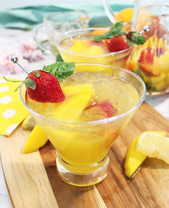 Mango Cocktail with garnish on board