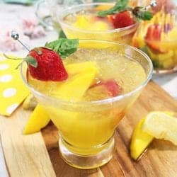 Mango Cocktail with basil and wine square