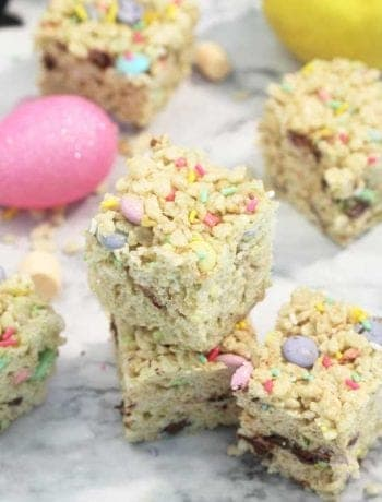 Rice Krispies Treats on table with candies and marshmallows square