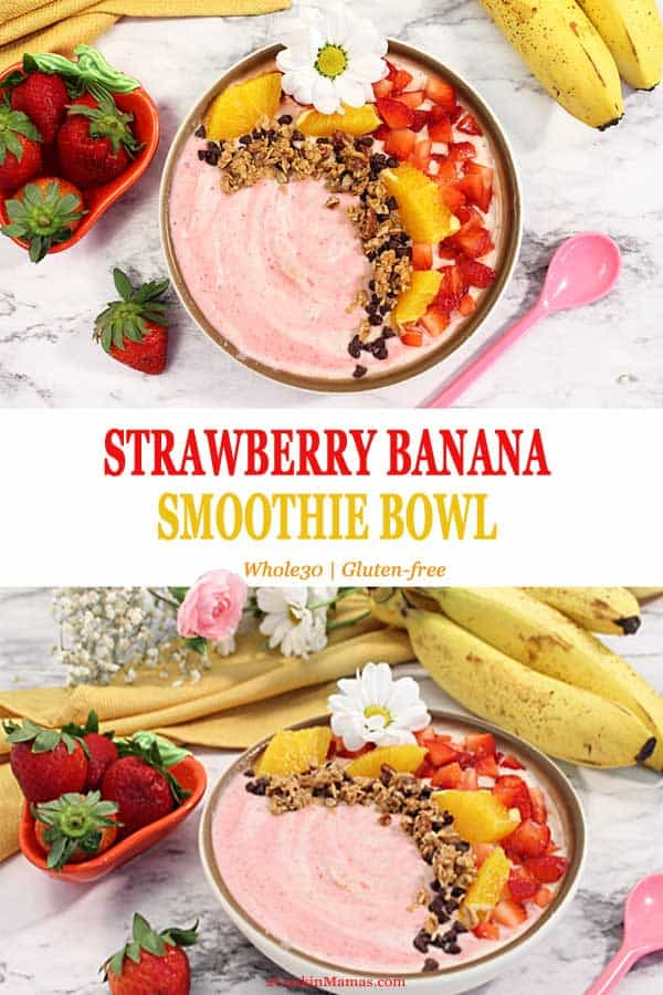 This Strawberry Banana Smoothie Bowl is not only delicious but easy to make and healthy too! A recipe that combines all things summer, juicy strawberries, orange juice and bananas. It\'s the perfect breakfast to start the day.#smoothie #recipe #healthy #breakfast #easy #bowl #strawberry #banana #yogurt #chiaseeds #whole30 #glutenfree