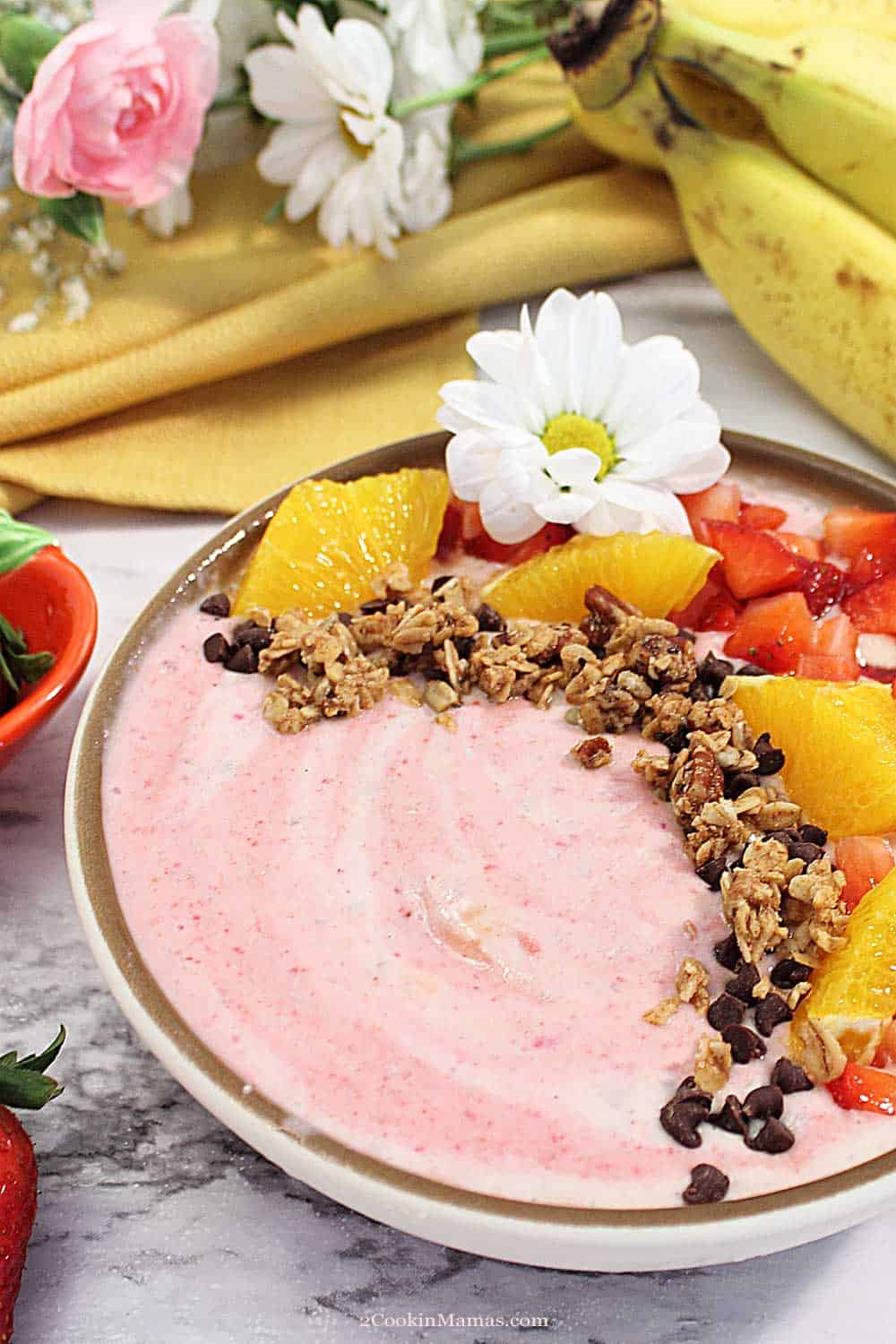 Strawberry Banana Smoothie Bowl tall
