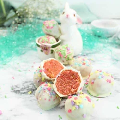 Bunny dish holding cake balls square