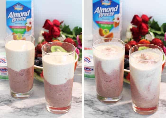 Cherry Vanilla Smoothie layers and swirl
