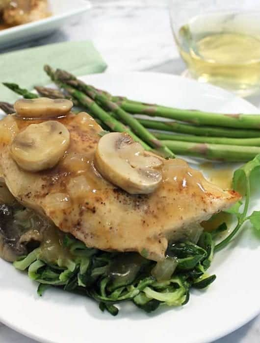 Chicken Chablis dinner on zucchini noodles square