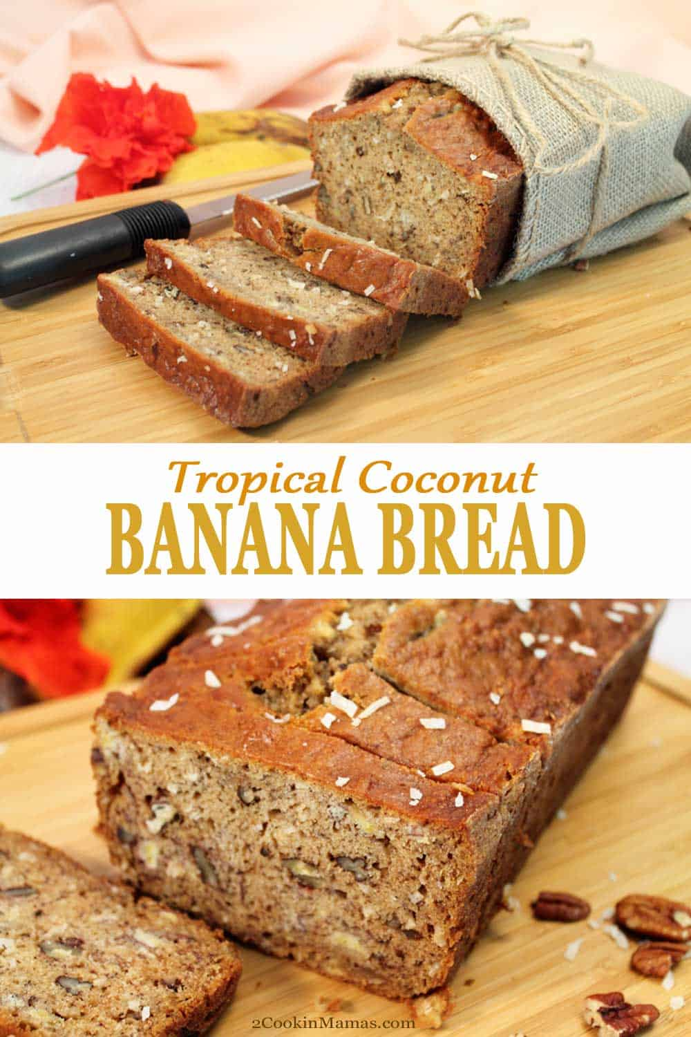 Tropical Coconut Banana Bread | 2 Cookin Mamas Tropical Coconut Banana Bread brings all the taste of the tropics to your breakfast table. A quick bread that's rich with the flavors of bananas, rum & coconut. #quickbread #bananabread #bananas #baking #recipe #breakfast #easy