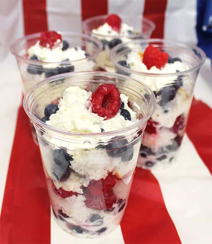 Red White and Blue Parfaits in plastic cups.