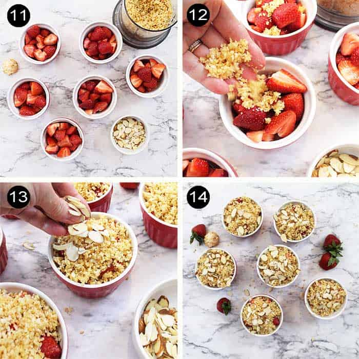 Steps to assemble Strawberry Margarita Crisp.