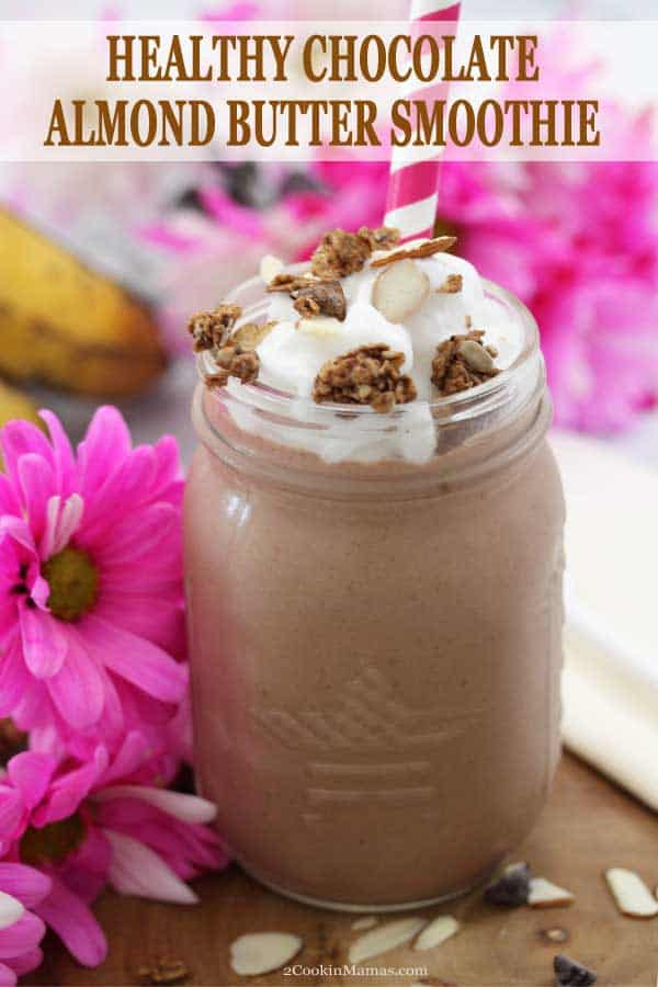 This Healthy Chocolate Almond Butter Smoothie is quick and easy, full of delicious chocolaty flavor and full of good for you ingredients! Just 7 ingredients, no added sugar, is gluten-free with an option for dairy-free. In fact, this chocolate smoothie is so good that you\'ll think you\'re having dessert for breakfast. Great for your morning routine or an after workout pick-me-up. #smoothie #breakfast #glutenfree #dairyfree #healthy #chocolate #almondbutter #bananas #recipe #cocoapowder