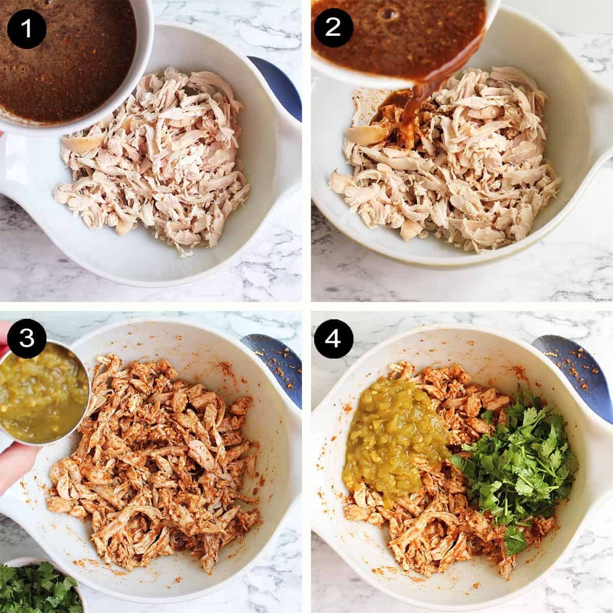 Steps to make chicken enchilada filling.