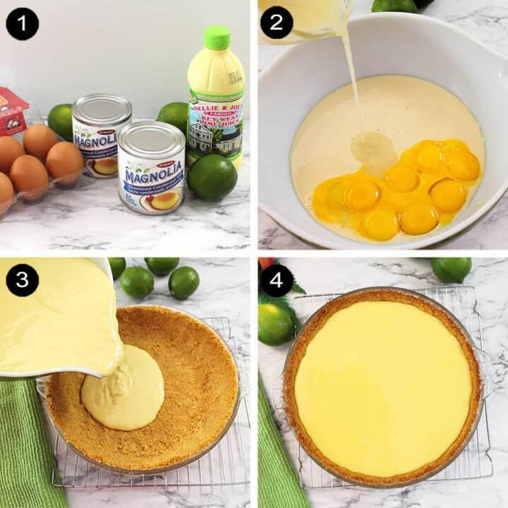 Key Lime Pie filling steps.