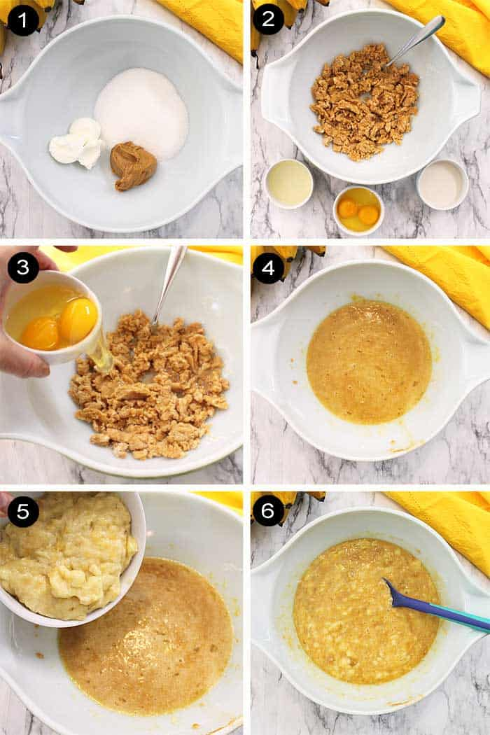 Steps from flour base, adding peanut butter to mashed bananas.