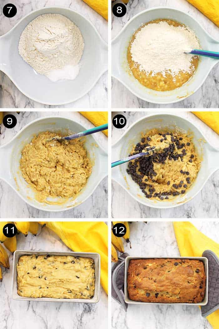 Steps from banana mixture to adding chocolate chips to baking.