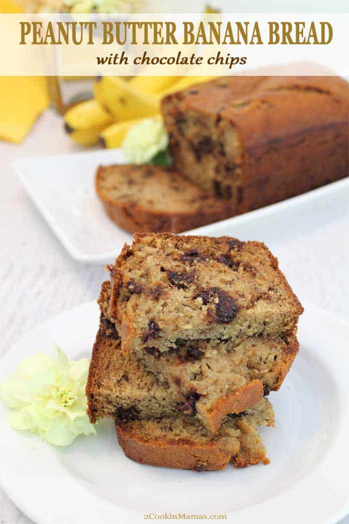 Moist, dense & full of chocolate chips, this Peanut Butter Banana Bread is rich with banana and peanut butter flavor. It\'s great for that on-the-go breakfast, after school snack or dessert. #bananabread #quickbread #peanutbutter #chocolatechip #snack #breakfast #recipe #withoil #bananas