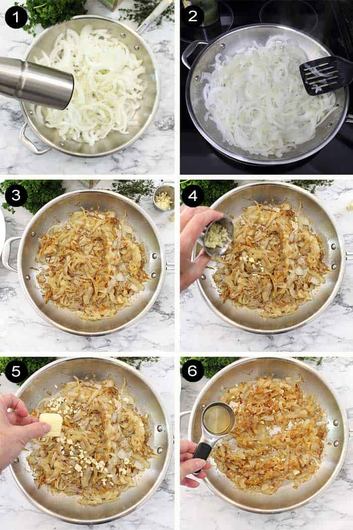 Steps to caramelizing the onions.