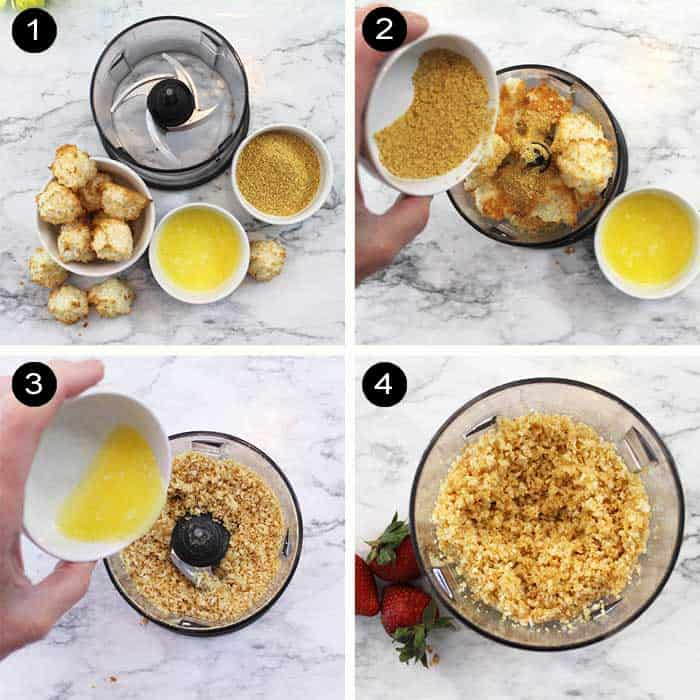 Steps to make macaroon crumble.
