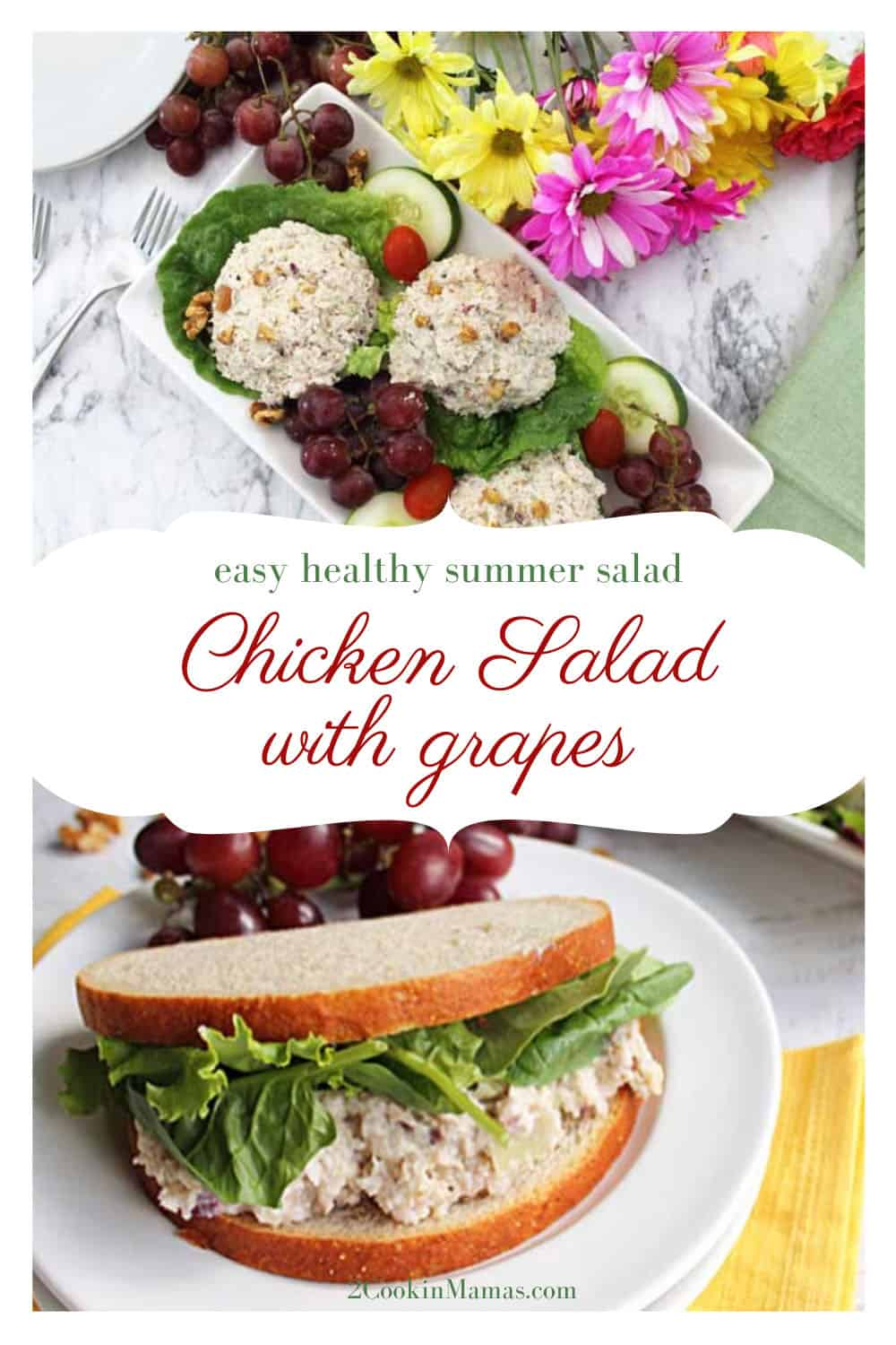 Healthy Chicken Salad with Grapes and Walnuts