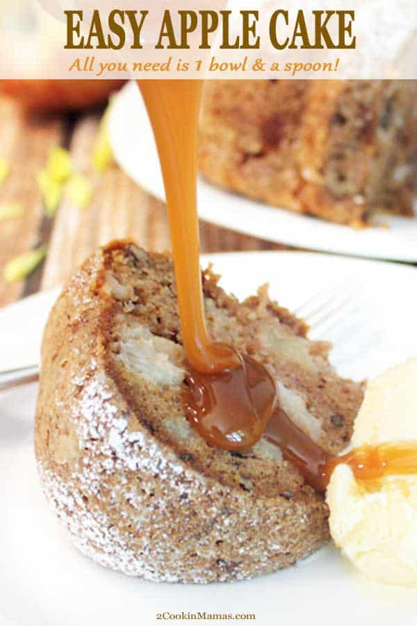 No Mixer Required! This Easy Apple Cake is made with just one bowl and a spoon. Stir together apples, pecans, flour and spices, pour into a bundt pan and bake. Out comes a moist, rich cake that\'s perfect for fall and holiday time. Serve drizzled with creamy caramel sauce to put it over the top! #dessert #fall #apples #bundt #easy #onebowl #recipe #cinnamon #pecans #caramel #moist #Thanksgiving